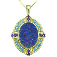"""18k Gold Over Sterling Silver Purple Drusy and Multi-Stone Pendant Necklace , 18"""" Amazon Curated Collection. $65.00. Made in China. Gold over sterling silver with shimmering purple drusy and multi-stone pendant. No ultrasonic cleaning. No abrasive cleansers. No heat. Crystals will chip off the drusy. Gemstones may have been treated to improve their appearance or durability and may require special care.. Save 41% Off!"""