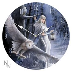 Anne Stokes Midnight Messenger Owl with White Sorcerer Lady Fairy Wall Clock | eBay
