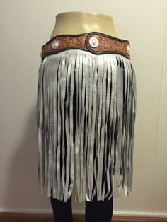 Hand tooled belt with fringe by BrokenArrowSApparel on Etsy