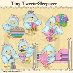 Tiny Tweets Sleepover 1 - Clip Art by Cheryl Seslar