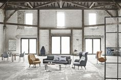 Fritz Hansen Ro chair and Sammen Chair. #design #fritzhansen #eggchair #industrial