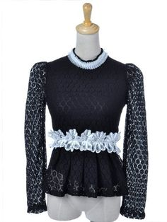 Anna-Kaci S/M Fit Gothic Black All Over Lace L/S Blouse w Floral Waist and Neck Anna-Kaci. $28.90