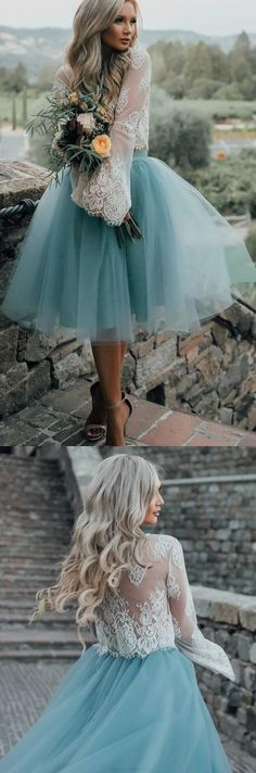 Long Sleeve Prom Dresses, Light Blue Long Sleeve Prom Dresses, Short Prom Dresses, 2017 Homecoming Dress Beautiful Two Pieces Lace Short Prom Dress Party Dress WF02G42-406