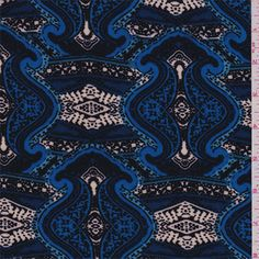 Sapphire blue, black, white, sky blue and wedgewoodprint. This lightweight polyester knit fabric has ample stretch and recovery.Compare to $10.00/yd