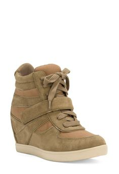 These Spencer camel colored wedge bootie high-top athletic shoes are too cute!