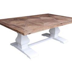 London 3 Lekkert og meget robust håndprodusert spisebord. Bordplaten er laget av alm etter gamle tredører og treverket er innfelt i flott mønster. Understellet er hvitmalt solid bjørk. Hvert bord har sitt eget unike utseende og særpreg da det er ulik struktur i det gamle treverket. Merker etter svunnen tid kan ses enkelte steder og er med å gi bordet en flott patina. Bordplaten er satt inn med voks slik at den er glatt og enkel å holde ren. Vi anbefaler at bordplaten vokses etter behov. Voks…