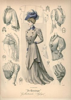 Walking suit, jackets and shirtwaists, 1905 the Netherlands, De Gracieuse I love the tailored suits of this era so much. I want one.