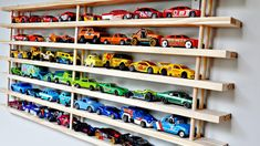 Turn a Shoe Rack into a Toy Car Wall Garage – Steve Kaplan Marketing Pool Toy Storage, Outdoor Toy Storage, Lego Storage, Playroom Storage, Shoe Storage, Car Organization Kids, Organizing Toys, Coloring Book Storage, Toy Storage Solutions