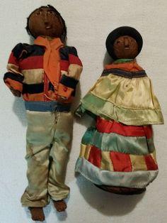 "Antique Male 11"" Tall Female 9"" Tall Doll Native American Handmade Dolls"