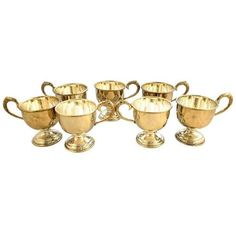 Vintage Silver Plate Coffee Cups - Set of 6 ($74) ❤ liked on Polyvore featuring home, kitchen & dining, drinkware, coffee & tea sets, silver plate tea set, silverplate tea set, silver plated cups and silver plated tea set