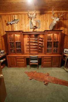 Locally Amish Custom Made Gun Cabinet Wall Unit Full View