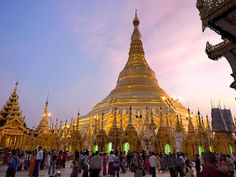 Sunset at Shwedagon Pagoda. As the sun dips, this most famous of Buddhist sites in Yangon, Myanmar, begins to glow as if illuminated from within. Stuff To Do, Things To Do, Shwedagon Pagoda, Yangon, Back In Time, Capital City, Great View, Night Time