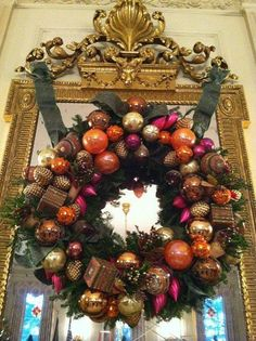 Mirrors are a wonderful place to hang wreaths.