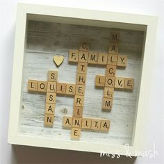 Personalised Scrabble Family Name Frame - Wall Art Birthday Gift Present Diy Christmas Presents For Mom, Diy Gifts For Mom, Christmas Goodies, Christmas Ideas, Scrabble Tile Crafts, Scrabble Frame, Scrabble Family Names, Name Frame, Art Birthday