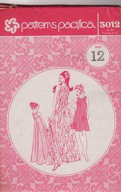 Patterns Pacifica 3012 1970s  Muu Muu  Pattern in Two Lengths  Womens Vintage Sewing Pattern Size12 Bust 34 Uncut. $12.00, via Etsy.