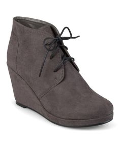 Look at this Brinley Co. Gray Exit Wedge Bootie on #zulily today!