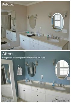 Master Bathroom Paint Color- Jamestown Blue~amazing what a difference just a coat of paint can make!