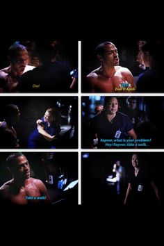 Jackson: Ow! Don't! April- Callie: Kepner, what is your problen? Hey! Kepner, take a walk. Take a walk. Jackson and April on Grey's Anatomy season 9 finale quotes