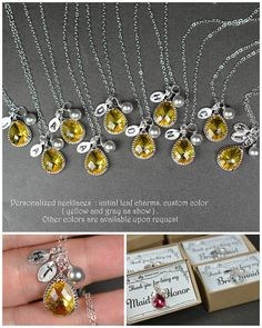 Yellow gray silver necklace ,Bridesmaid Wedding Bridal Bridesmaid Jewelry-Bridesmaid gifts ,personalized NECKLACE , monogrammed gifts