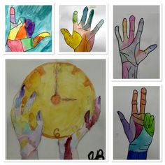 """Middle School """"Hands On"""" watercolor project-http://2soulsisters.blogspot.com/2016/07/hands-on-watercolor.html"""