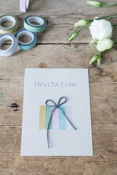 DIY : Creative invitations and place cards made from washi tape Good Birthday Presents, Birthday Cards For Boys, Happy Birthday, Homemade Invitations, Washi Tape Diy, Boyfriend Crafts, Homemade Valentines, Birthday Crafts, Diy Party