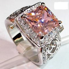'Stunning Pink Topaz Ring SZ 6,7,8,9' is going up for auction at 9am Sat, Aug 3 with a starting bid of $1.