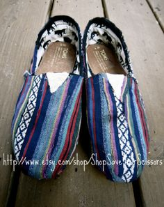 CUSTOM bohemian hippie TOMS custom TOMS by ShopSaveYourScissors, $76.00