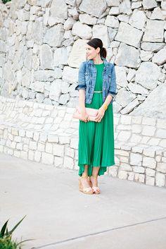 cute green dress & denim jacket on Kendi!
