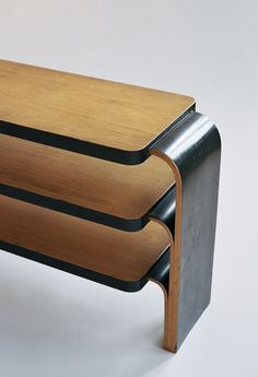close up of Alvar Aalto shelf 111 - ebonised edges