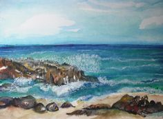 Aruba watercolors paintings original 11 x 15 Seascape original watercolor painting, beach artwork, sea near Aruba painting,  ocean art by SharonFosterArt on Etsy