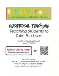 Reciprocal Teaching: Teaching Students to Take the Lead (Handout)