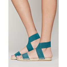 Free People Amore Stretch Sandal ($20) ❤ liked on Polyvore featuring shoes, sandals, strap sandals, leather espadrilles, elastic strap sandals, wide width sandals and leather sandals