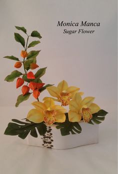 Orchid cymbidium chinese lanterns and monstera Sugar Flower
