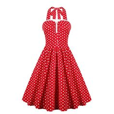 21.04$  Buy now - http://diii6.justgood.pw/go.php?t=180945102 - Retro Style Women's Ruffled Polka Dot Halter Dress