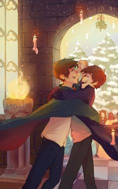 arkaena: Collab with amazing @mon-petit-chaton! HP au, Dipper and Wirt dancing outside during the Yule Ball! Look at this Arkaena coloured it so beautifully!!!! Plus look at those details I'm speechless…… ..