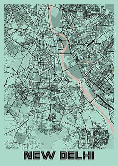 Delhi City, City Maps, Peony, Artist, Poster, Shopping, Design, Artists