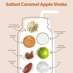 Photo by 310 Nutrition | 310 Shake on September 20, 2021. May be an image of food and text that says '310 T屋 Salted Caramel Apple Shake 310 Organic Salted Caramel Cashew butter Unsweetened oat milk Cinnamon Granny smith smithapple apple Optional: date Ice'. #Regram via @CUGDeHBg9XK Protein Powder Recipes, Protein Shake Recipes, Protein Shakes, Healthy Recipes, Cinnamon Apples, Caramel Apples, Cashew Butter, Granny Smith, Recipe Images