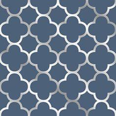 Origin Blue Quatrefoil Wallpaper from the Symetrie Collection by Brews | BURKE DECOR