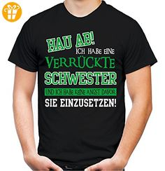 Verrückte Schwester T-Shirt | Geburtstag | Geschenk | Geschenkidee | Sprüche | Zitate | Kostüm | Coole | Mama | Papa | Männer | Herren | Fun (S, Schwarz) - T-Shirts mit Spruch | Lustige und coole T-Shirts | Funny T-Shirts (*Partner-Link)