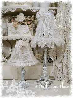 Vintage Lace Lampshades created with bits of old lace and trim.  From A Gathering Place