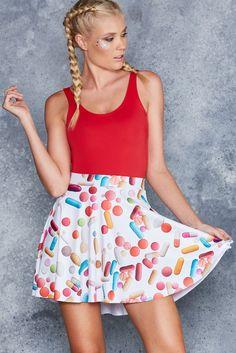 Placebo Effect Pocket Skater Skirt - 48HR ($65AUD) by BlackMilk Clothing