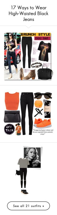 """""""17 Ways to Wear High-Waisted Black Jeans"""" by polyvore-editorial ❤ liked on Polyvore featuring highwaistedjeans, waystowear, Givenchy, Yves Saint Laurent, Charlotte Russe, Illesteva, Emi Jewellery, HUF, NIKE and jeans"""