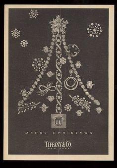1955 Tiffany's jewelry Xmas tree shape of rings pins bracelets photo vintage ad