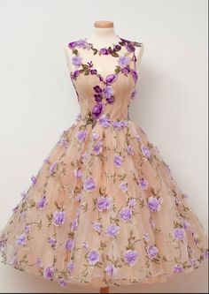 by Chotronette lavender floral overlay, nude under dress