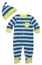 Offspring Stripe Footie & Hat Set (Infant)