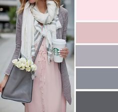 Pink and Gray color palette Colour Combinations Fashion, Color Combinations For Clothes, Fashion Colours, Colorful Fashion, Trendy Fashion, Style Fashion, Colour Pallete, Colour Schemes, Color Trends