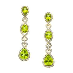 Peridot & Diamond Earrings by Eli frei
