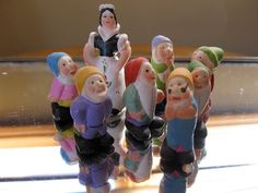 Miniature Painted Snow White and Dwarves by chichat on Etsy, $40.00