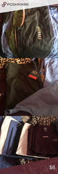 Small Scrubs $8 each Igunamed and Cherokee brands. I have steel grey, white ciel blue, olive in bottoms. Maroon. White, black, and ciel blue in tops. Make a offer on a bundle! Tops