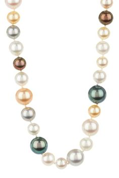 14K White Gold 6-9mm Multicolor Japanese Akoya Pearl Necklace by Stay Classic: Polished Pearls on @HauteLook